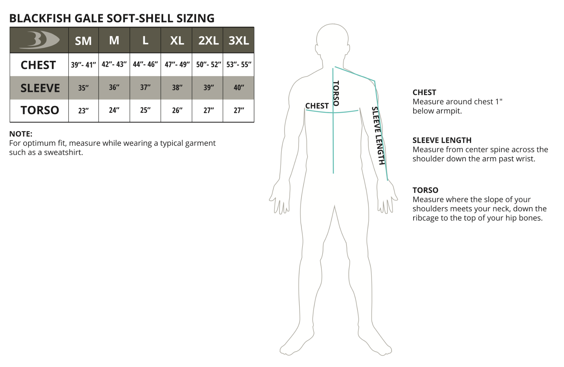 Gale Soft-Shell Pullover Size Chart