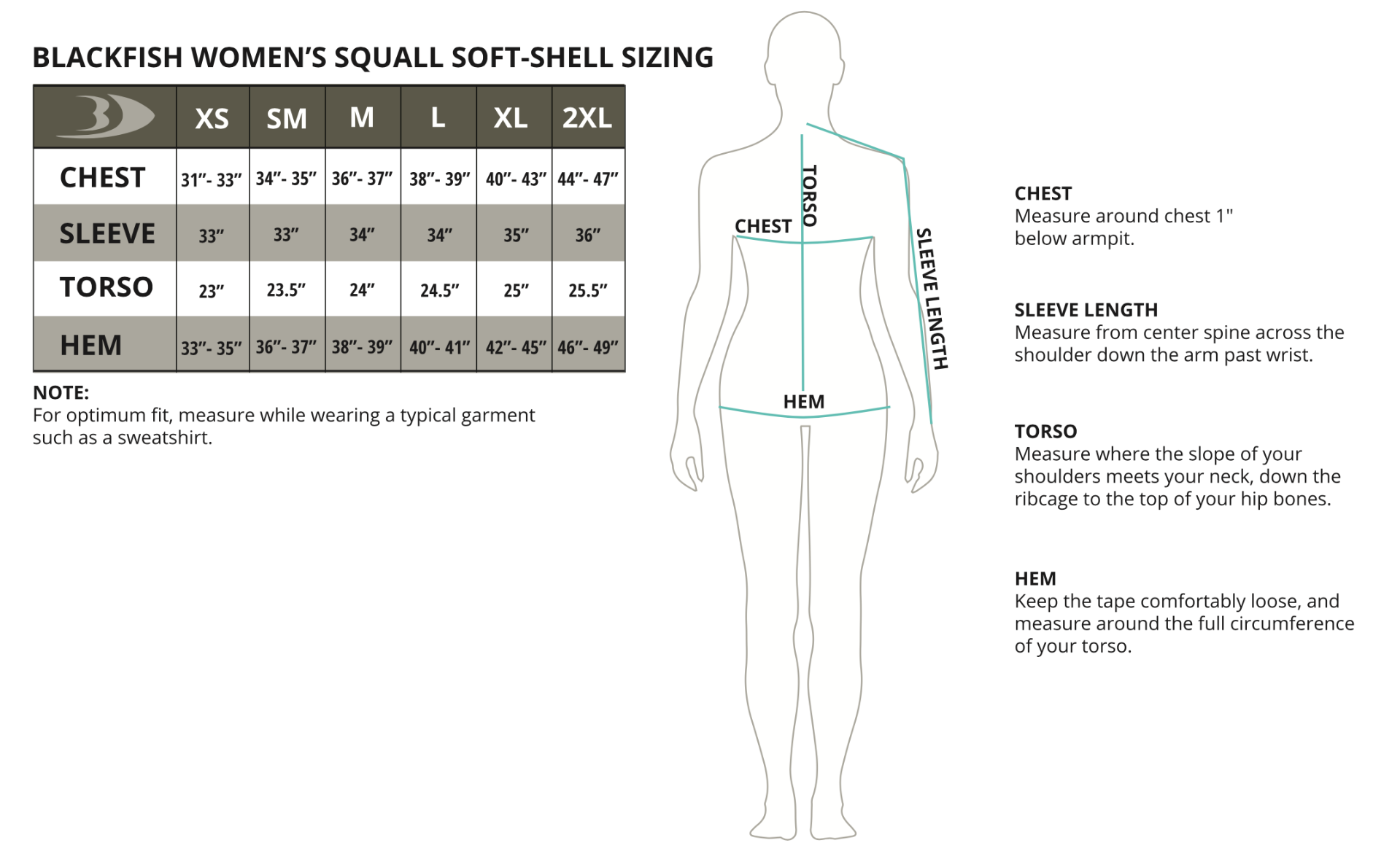 Squall Soft-Shell Pullover Size Chart