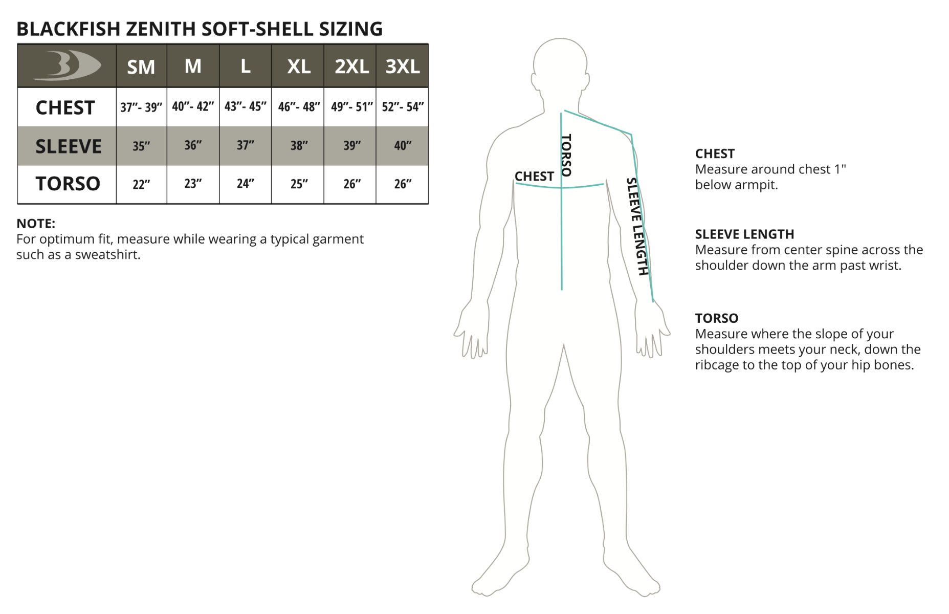 Zenith Soft-Shell Jacket Size Chart